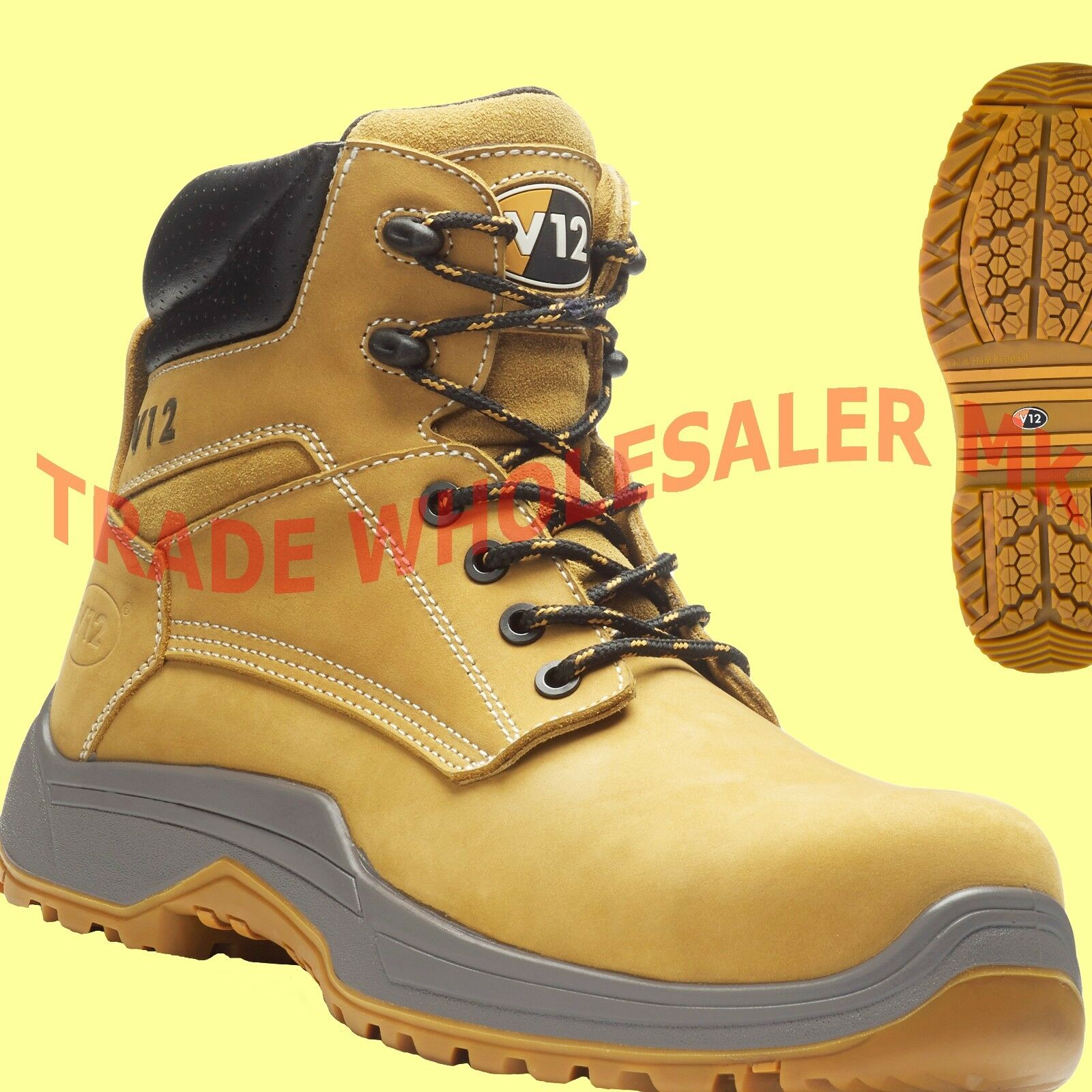 V12 PUMA LEATHER WORK COMPOSITE TOE CAP SAFETY BOOTS STEEL MIDSOLE