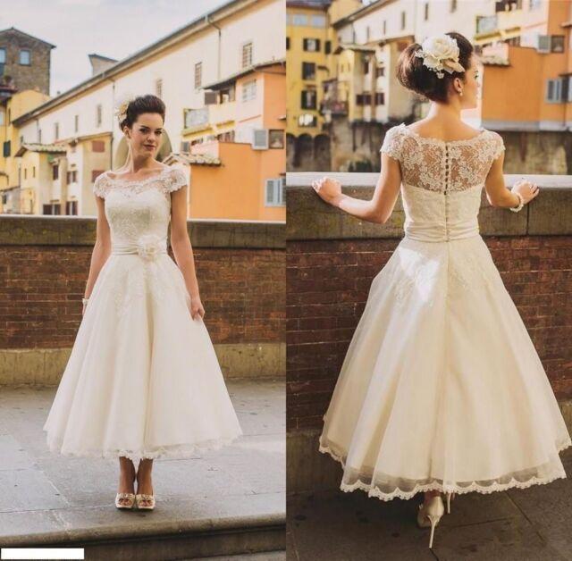 brand new 6ce1c ad27e Neu Vintage Weiß / Elfenbein Spitze Tee Länge Kurzes Hochzeitskleid  Brautkleid