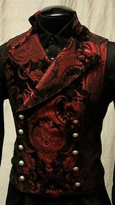 SHRINE GOTHIC VAMPIRE CAVALIER RED VEST JACKET VICTORIAN TAPESTRY STEAMPUNK
