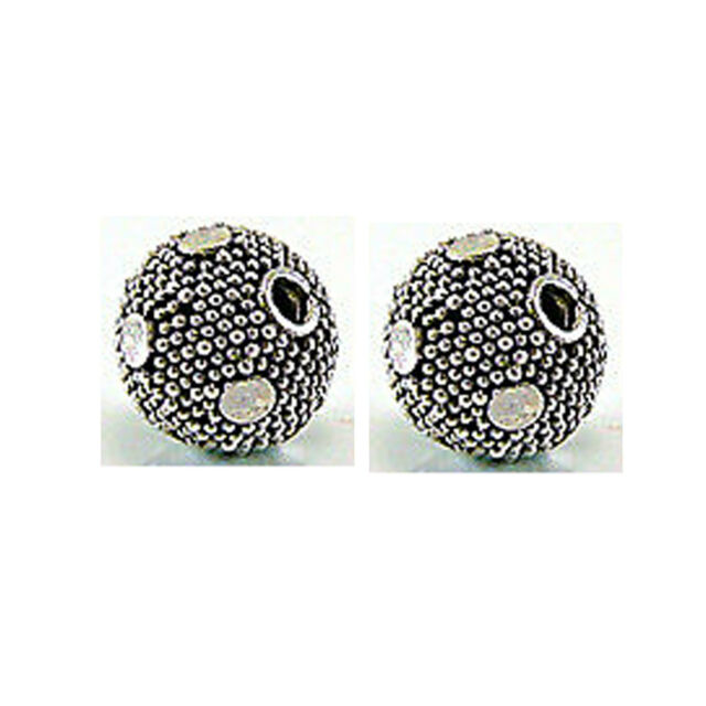 8mm Round Bali 925 Sterling Silver Bead Plain Dots B140- 2 pcs