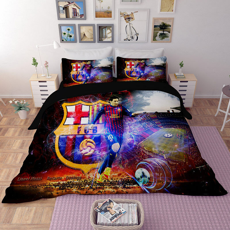 3D Soccer Lionel Messi Quilt Cover Bedding Set Football Duvet Cover Pillowcase