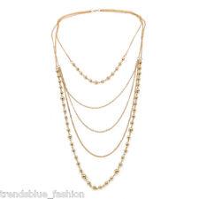 Elegant Gold Tone Beaded Long Multi Row Layered Fashion Necklace