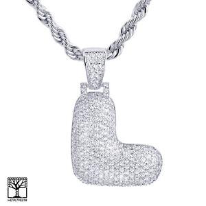 L-letra-de-burbuja-inicial-Personalizado-Plateado-Plata-CZ-Colgante-Collar-Cadena-de-24-034-helado