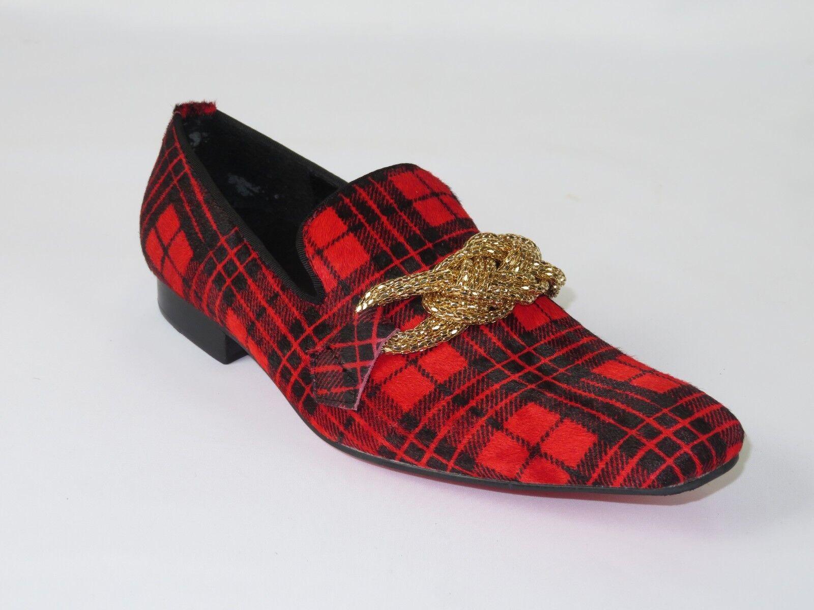 Zapatos para hombre Fiesso por Aurelio Garcia Pony Cabello inglés a cuadros Slip On Fi7291 Rojo