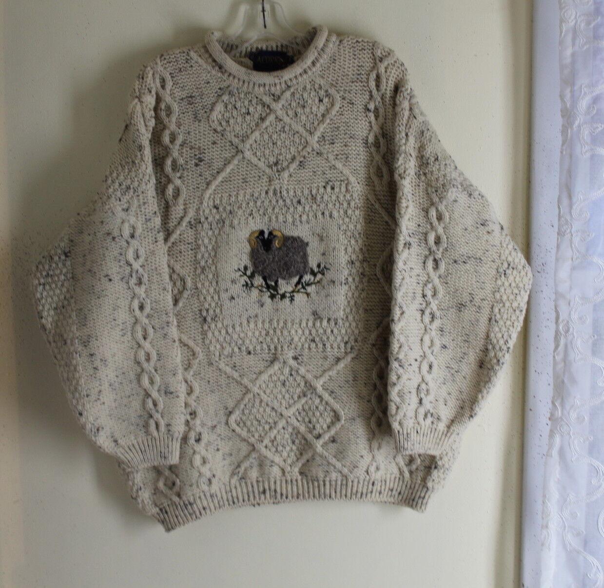 Acorn – Sz L SHEP Aran Wool konst -to -wear Fisherman Knit tröja Jumper
