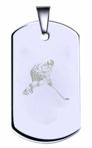 Hockey Argent Sterling Gravé Nom Texte Chien Armée Tag