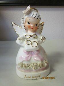 Vintage Japan Napco June Birthday Angel Figurine Spaghetti Trim Ivory Gold Pink