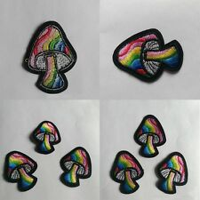 2pcs New Mushroom Shroom Hippie Peace Embroidered Iron On Applique Patch DIY Hot