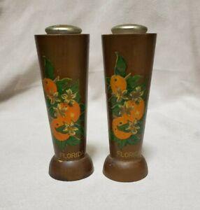 Wooden Salt & Pepper Shakers Set Vintage Souvenir Florida Oranges 70's
