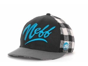 Neff-Brawney-Snap-Black-White-Gray-Blue-Snapback-Adjustable-Hat-Cap