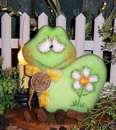 Primitive Frog Toad Daisy Doll Shelf Ornie Paper Pattern #444