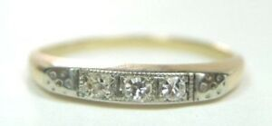 Antique-Vintage-Art-Deco-Diamond-Wedding-Band-14K-Two-Tone-Gold-Ring-Size-6-25