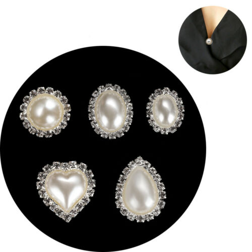 Círculo Redondo /& Corazón Rhinestone Cristal Perla Marfil Botón de Metal Hebilla 10 un