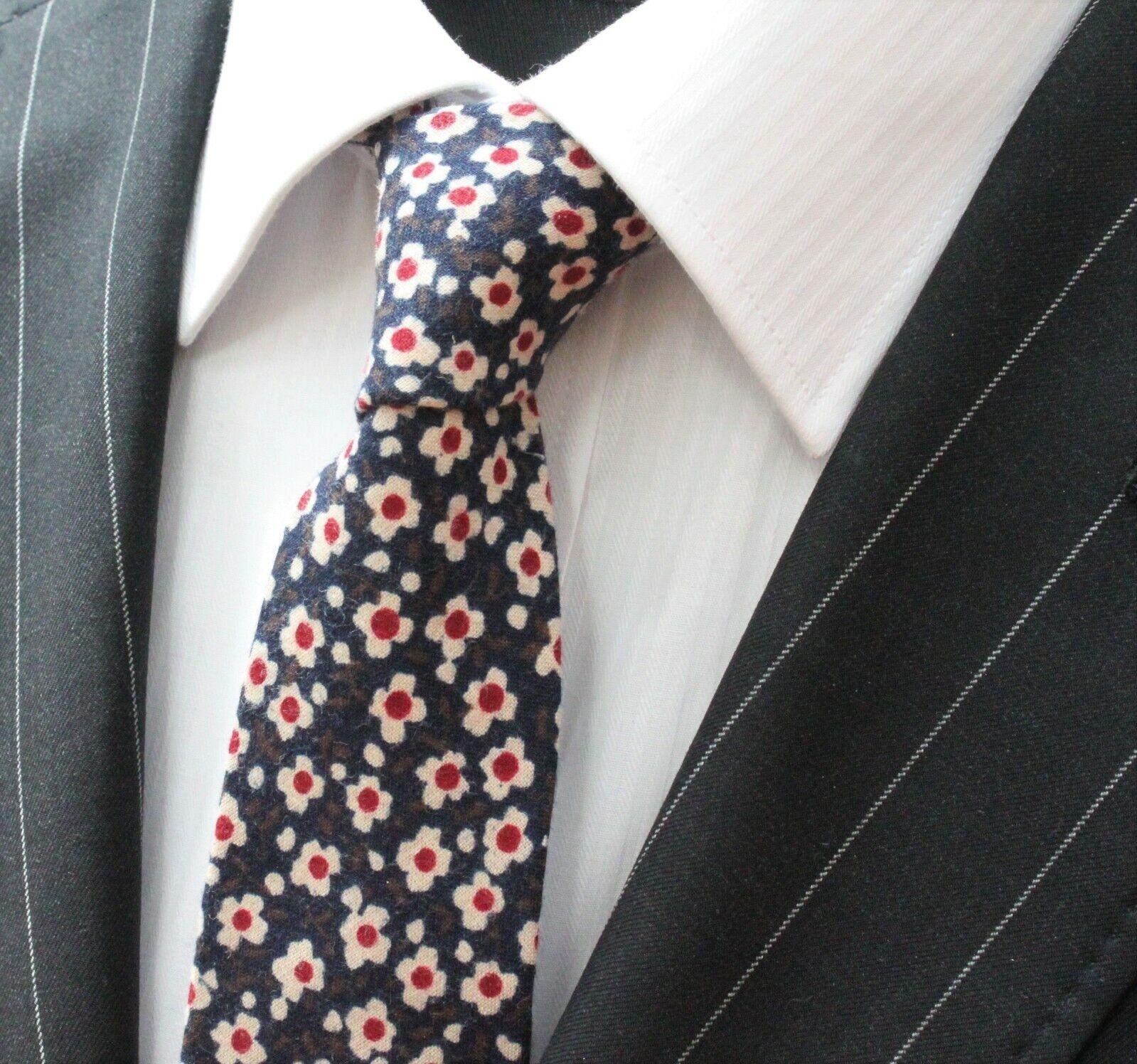 Tie Neck tie Slim Navy Blue Off White Floral Quality Cotton T6015