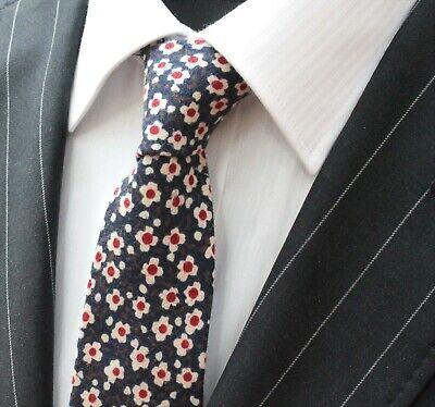 Energico Tie Cravatta Slim Blu Navy Bianco Sporco Qualità Floreale Cotone T6015-mostra Il Titolo Originale