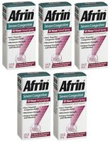 5 Pack Afrin Nasal Spray Severe Congestion 12 Hour Relief Fast Powerful 0.5 Oz on sale