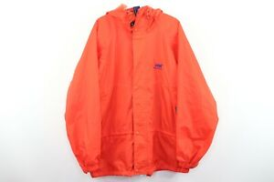 Vintage-90s-Helly-Hansen-Mens-Small-Spell-Out-Packable-Hooded-Rain-Jacket-Orange