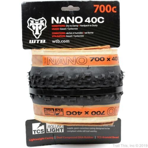 WTB Nano 40 Tire 700 x 40 TCS Tubeless Fast Rolling Gravel Bike Tire Black /& Tan