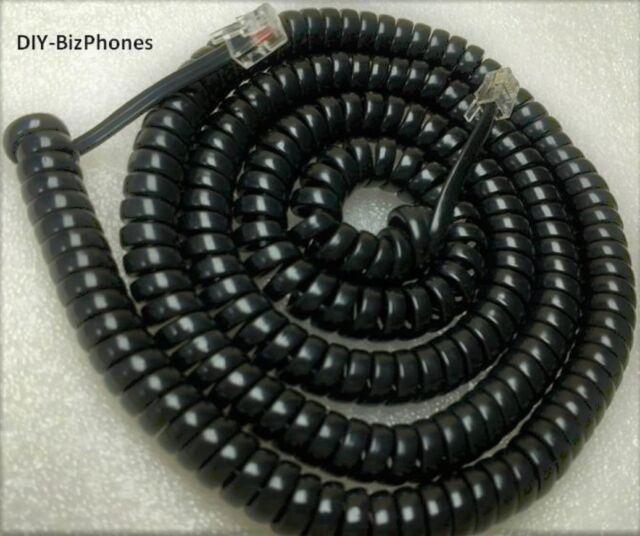 Pack//Lot of 5 Glossy Black 25 Ft Generic Handset Cord Phone LONG Coil 4P4C RJ9