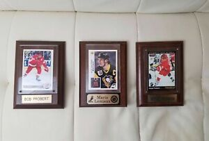 Lot-of-3-Vintage-Hockey-Card-with-Plaque-Probert-Fedorov-Lemieux-NHL