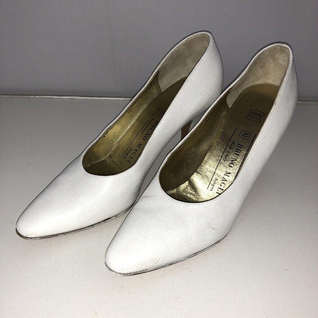 Bruno Magli 7 AA Narrow Heels White Heels Classic Leather Womens shoes 3  Heel