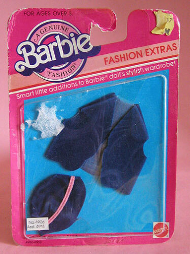 "BARBIE FASHION EXTRAS BLUE ""SUEDE VEST & HAT #4906 1983"
