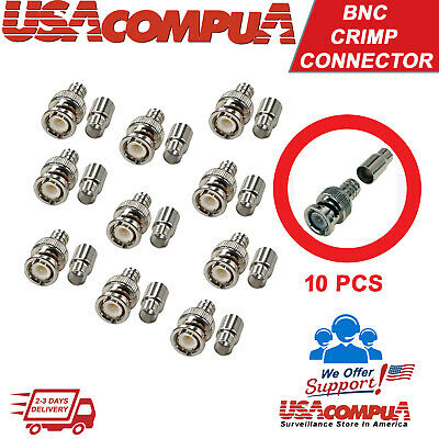 5 pcs Crimp BNC Connectors Male RG59 Coax Coaxial  Plug Ends For CCTV Camera US