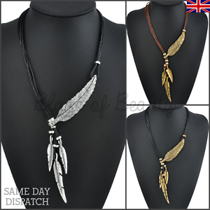 8e6ff9ad8178b Details about Boho Leaf Necklace Rope Chain Feather GOLD SILVER Jewellery  Style Fashion Women