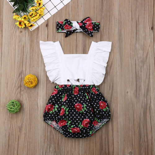 Toddler Baby Girl Romper Headband Bodysuit Outfit Jumpsuit Playsuit Clothes 2PCS