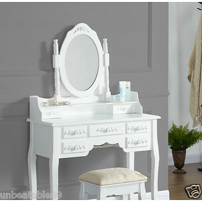 Dressing Table With Stool White Black Ivory Silver Oval Mirror Vintage Bedroom