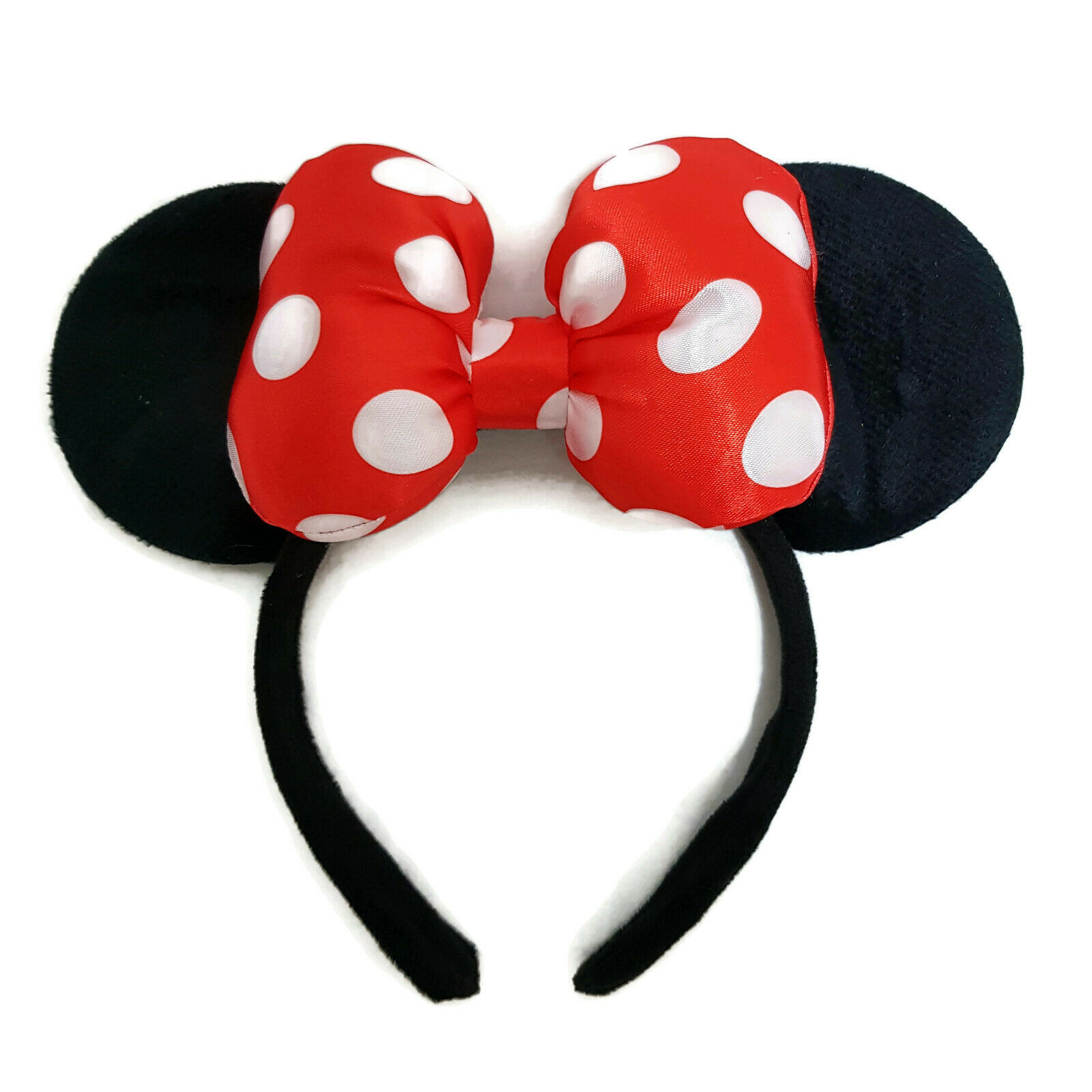 MINNIE MOUSE EARS Headband Black Sparkle Shimmer-White Polka Dots on Red Mickey