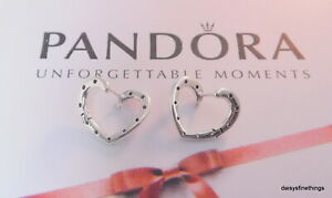 9d362f9a0013b Details about AUTHENTIC PANDORA EARRINGS BRIGHT HEART HOOPS ROYAL  PURPLE/LILAC #297231NRPMX
