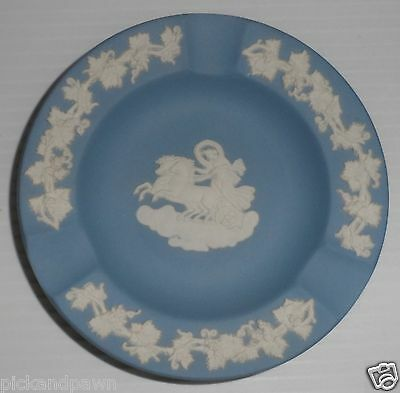 Wedgewood Jasperware Blue Jasper Collectors Society Floral Girl Trophy Plate Heart Dish Bud Vase Oval Charriot Trinket 4 Piece SET Vintage