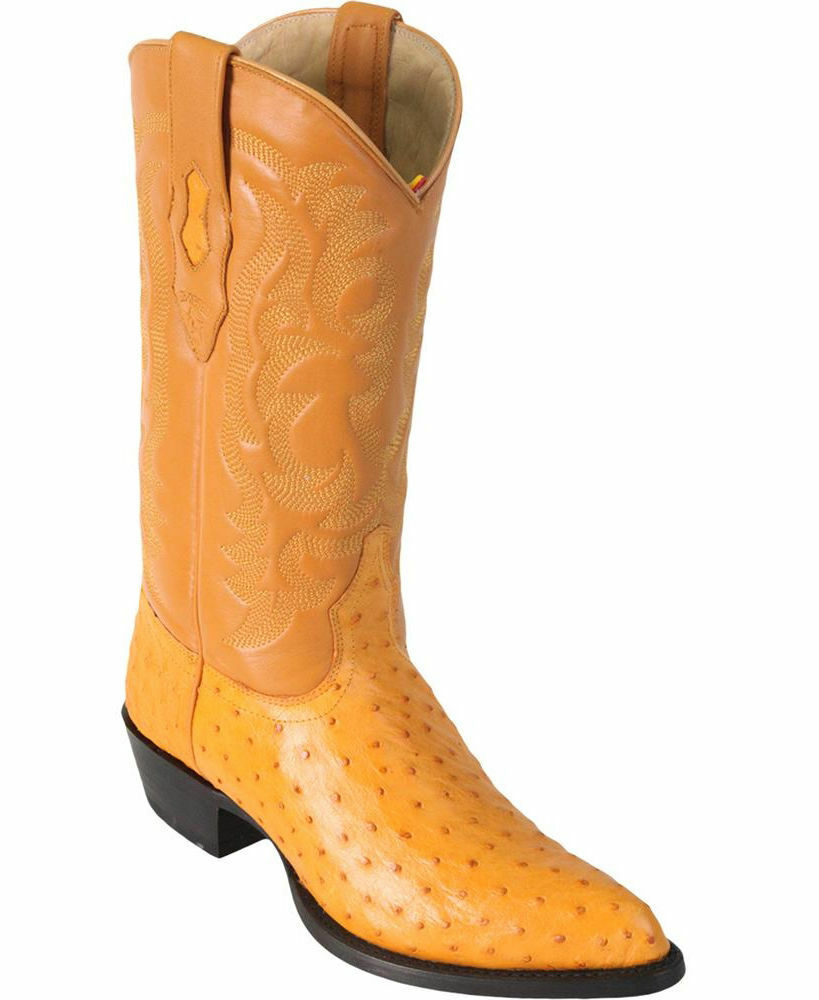 LOS ALTOS MEN BUTTERCUP GENUINE FULL QUILL OSTRICH WESTERN COWBOY BOOT J-TOE D