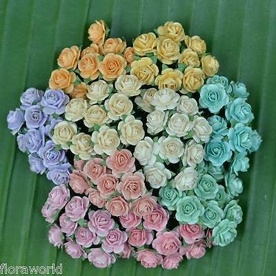 100 Mixed Mulberry Paper Artificial Rose Head Flower Pastel Color 15mm/ 0.6 inch