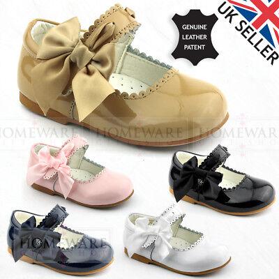 Bebé Niñas Cuero Calzado patente española Mary Jane arco de satén Ranurado UK2 a UK12
