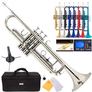 Mendini-Bb-Trumpet-Gold-Silver-Black-Blue-Purple-Red-Tuner-Case-CareKit