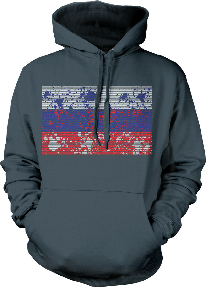 Russia Flag Paint Splatter Russian Country From Born RUS Team Hoodie Sweatshirt