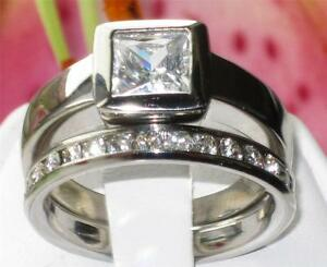 993 PRINCESS SIMULATED DIAMOND SOLITAIRE ENGAGEMENT RING WEDDING STAINLESS STEEL - LINCOLNSHIRE, United Kingdom - 993 PRINCESS SIMULATED DIAMOND SOLITAIRE ENGAGEMENT RING WEDDING STAINLESS STEEL - LINCOLNSHIRE, United Kingdom