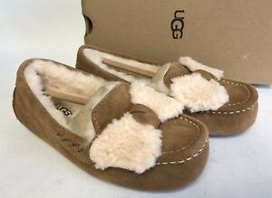 4ba6e6cfa4a Image is loading UGG-Australia-Ansley-Twinface-Bow-Chestnut-Fur-Slippers-