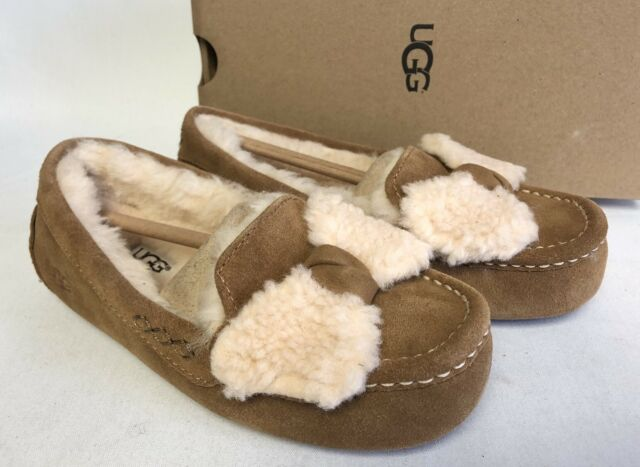 f71c93f28b1 UGG Australia Ansley Twinface Bow Chestnut Fur Slippers 1019758 House Shoes