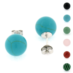925-Sterling-Silver-10mm-Ball-Turquoise-Black-Onyx-Coral-Jade-Stud-Earrings