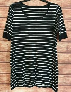 EVANS-Long-Top-Black-White-Striped-BRETON-Tunic-Stretch-Short-Sleeved-UK-18