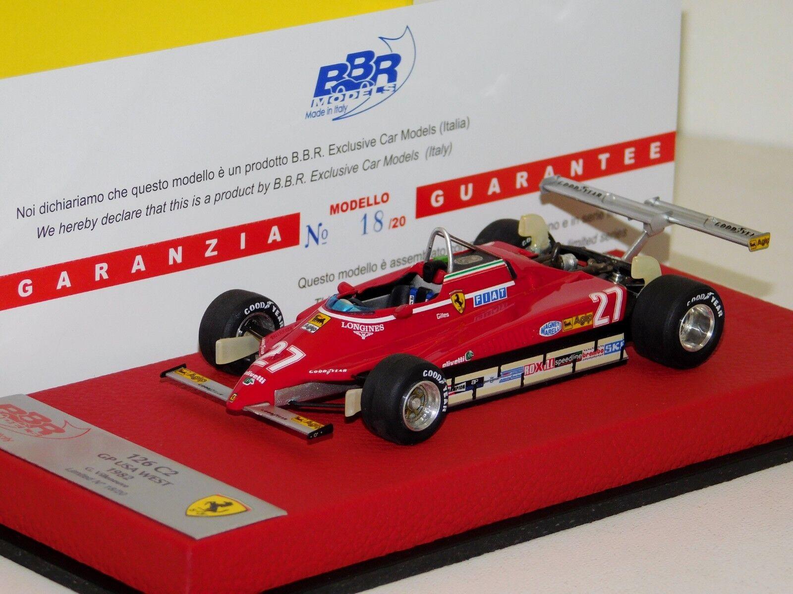 marcas de diseñadores baratos Ferrari 126 C2 Us Grand Prix 1982  27 G. G. G. VILLENUEVE BBR BG321PRE Lim. 20 piezas 1 43  barato