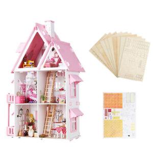 [NEW] Iiecreate Large Wooden Kids Doll House Barbie Kit Girls Play Dollhouse Man 7436825742796