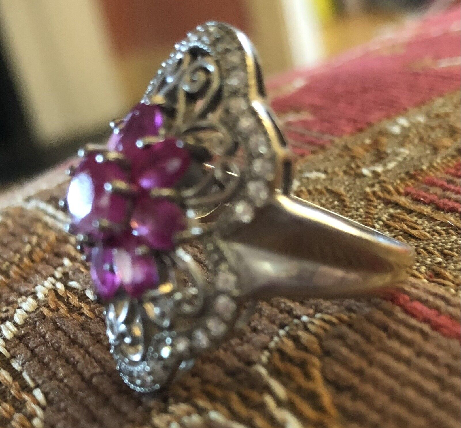 Sterling Silver Ruby Floral Flower Ring - image 6