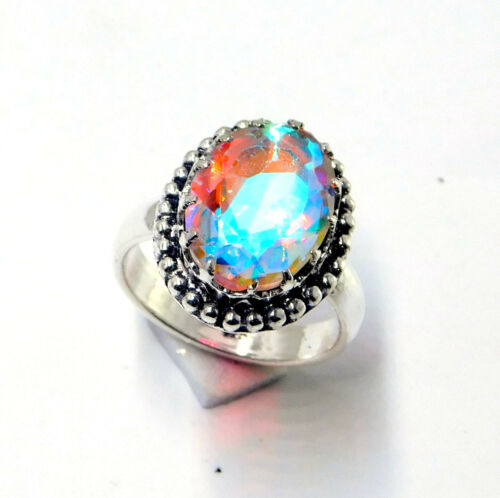 Rainbow Mystic Topaz 925 Sterling Silver Plated Jewellery Ring UK Size K 1//2-A24