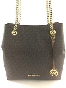 9dec313e9991 New Michael Kors MK Jet Set Chain Medium Logo Shoulder Tote Handbag ...