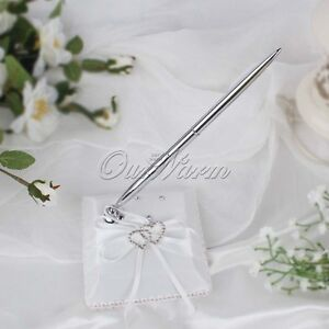 Wedding-Ceremony-Guest-Book-1-Pen-Set-Ribbon-Bowknot-Double-Heart-Buckle