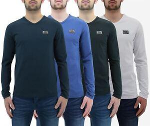 Hommes T Shirt né riche par l'argent vêtements Jaspe Sanguin à Manches Longues V Neck Tee